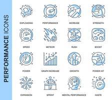 Blauwe dunne lijn prestaties gerelateerde Icons Set