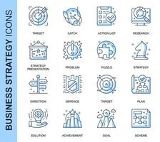 Blue Thin Line Business Strategy Related Icons Set