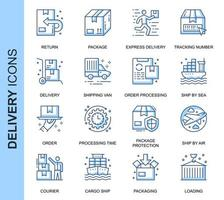 Blue Thin Line Delivery Related Icons Set