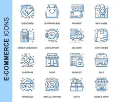 Blue Thin Line E-Commerce Related Icons Set
