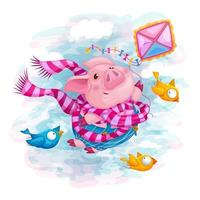 A piglet with friends birds flies on a kite