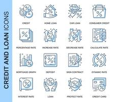Blue Thin Line Credit and Loan Related Icons Set