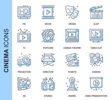 Blue Thin Line Cinema Related  Icons Set
