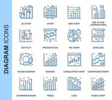 Blue Thin Line Diagram Related Icons Set