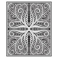 Ornate wood carved effect botanical pattern vector