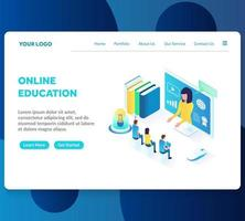 online education isometric landing page template