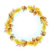 A wreath of yellow autumn oak leaves and acorns
