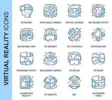 Blue Thin Line Virtual Reality Related Icons Set