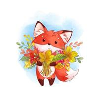 fox with a large bouquet of fallen leaves