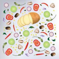 Colorful pattern Raw vegetables Background  vector