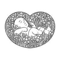 Ligne ornée de bébé endormi à effet de fleurs