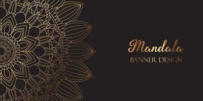 Diseño de banner de mandala dorado