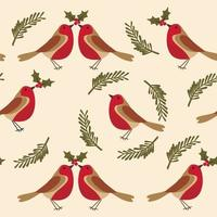 Seamless pattern with Robin bird and holly berries
