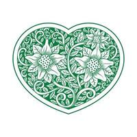 Green heart shaped ornate floral pattern vector