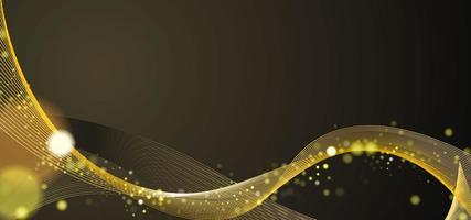 Wavy Yellow Abstract Glittering Lines Background