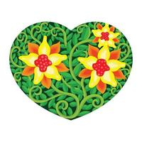 Colorful digital heart shape floral image