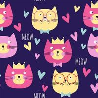 Seamless pattern with cats heads, hearts, crowns, vector