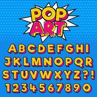 pop art stil typografi set