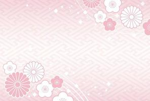 Japanese New Years card template with traditional patterns.