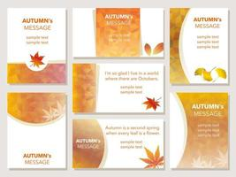 Ensemble de sept cartes de message d'automne.