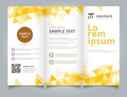 Template brochure layout design geometric yellow triangles vector