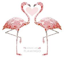 Mosaic pink flamingos isolated on a white background.