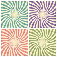 Set of circus graphic radius effects retro green, blue, purple, red
