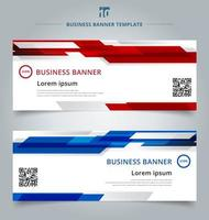 Set of abstract web banner geometric red and blue vector