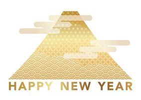 Nyårs hälsning symbol med guld Mt. Fuji