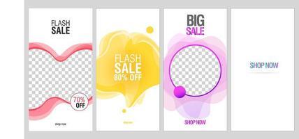 Redes sociales fluidas dinámicas y modernas para banners de venta flash
