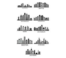 Set of American city skylines