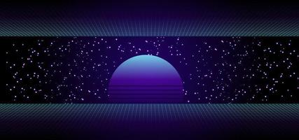 80s Retro Sci-Fi Background with Sunrise or Sunset