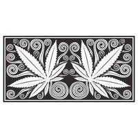 Hemp leaves ornate wood carved effect pattern