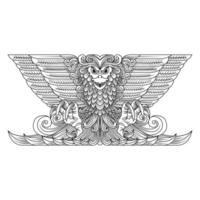 Ornamental eagle line drawing  vector