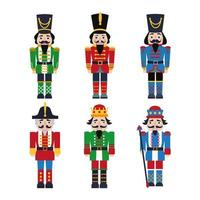 Christmas nutcrackers - soldier figurine icons set vector