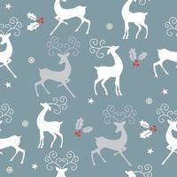 Seamless Christmas pattern with white reindeer vector