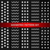 Set of white geometric pattern on black background.