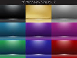 Set of 9 abstract studio room background with lighting on stage.