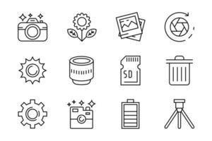 Set of flat line icons for photography