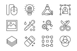 Set of flat line icons for graphic design  vector