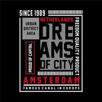 Amsterdam stadsdeel t-shirt ontwerp grafische typografie