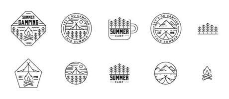 Etiquetas de línea plana de camper de verano