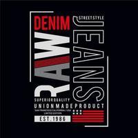 Design de tipografia urbana de jeans cru