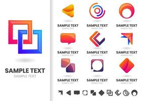 Set of modern logo geometric shapes