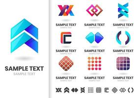 Set of sleek modern logo icons