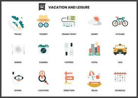 Set of vacation and leisure icons on white