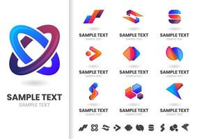 Set of interlocking modern logo shapes