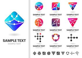 Set of modern geometric shapes with dots logos