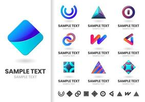 Set of minimalist modern shape logos