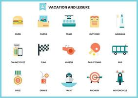 Set of leisure and vacation icons